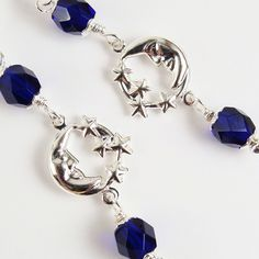 Moon and Stars Earrings, Cobalt Beads Faceted, Sterling Silver Hooks