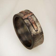 Anillo de bodas anillo rústico plata cobre hombres ancho