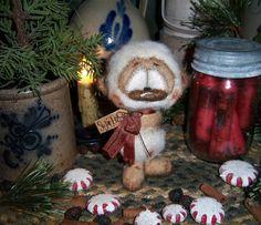 "Primitive Christmas Fuzzy Panda Teddy Bear 5"" Doll Vtg Patti's Ratties Cub OOAK"