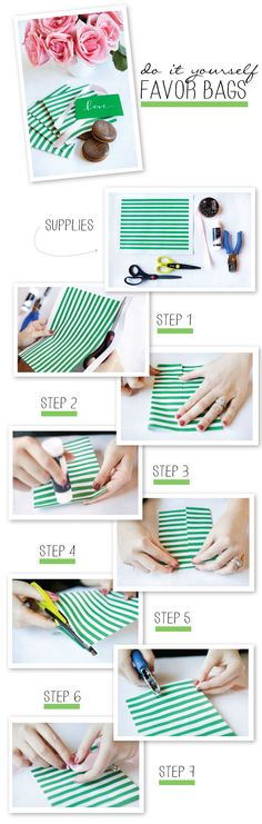 Make your own Favor Bags. For great colors and prints consider using a roll of wrapping paper from Dollar Tree.