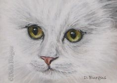 Cat Art White Kitty Pastel Painting Della Burgus, painting by artist Art Helping Animals