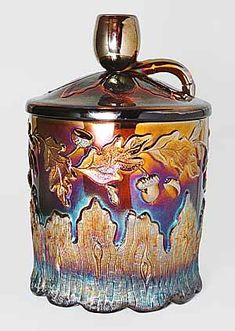 Millersburg carnival glass Pipe humidor Would love to own this piece.