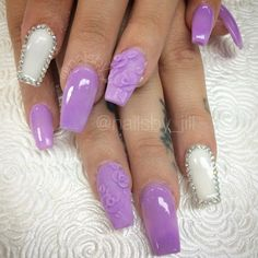 Purple and white coffin nails