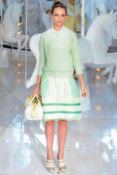 Mint Green Long Sleeve Sweater With Cute and Preppy Skirt | http://brideandbreakfast.ph/2011/10/07/fashion-friday-louis-vuitton-springsummer-2012/ | Designer: Louis Vuitton