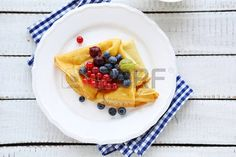 CREPES: french crepes with berries, top view Crepe Maker, French Crepes, Top View, Waffles, Berries, Stock Photos, Breakfast, Image, Food