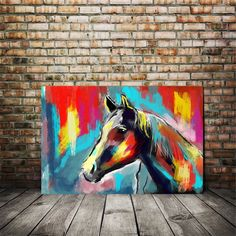 Excited to share this item from my #etsy shop: Horse Painting art, Large canvas prints, colorful horse painting, girls room art, horseback riding, kids room art, teen room decor, gift