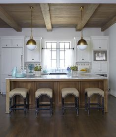 Jan Ware Designs - kitchens - Hand Rubbed Antique Brass Hicks Pendant, Noir Abacus Hand Barstool, two tone kitchen, 2 tone kitchen, plank ce...