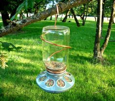 Upcycled Rustic Country Mason Jar Bird Feeder With Copper Hanger