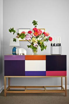 bright colorful clean-lined buffet from Zuster | wall paint color is Dulux 'Grey Pebble' | Arent&Pyke: Belle Mirvac