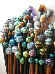 Knitting Needles - Dichroic Glass Top