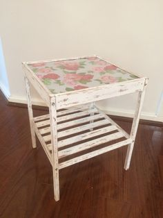 Ikea Nesna Hack: Shabby Chic - distressed paint effect and wrapping paper under glass.