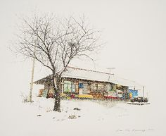 (Korea) A small store in a rural by Lee Me Kyeoung ). ink on paper with a pen use the acrylic. Ink Pen Art, Lee And Me, Sketches Of Love, Urban Sketchers, Korean Artist, Installation Art, Art Installations, Asian Art, Art Inspo