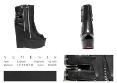 Could you imagine a super comfortable black leather bootie with a wide wedge and two zippers on the side? Well, you don't have to imagine it anymore, cause Némesis is here now. This awesome shoe with an open toe and straps in the back, will let you speechless, so you better be ready!   ONLINE STORE: bymareshoes.com