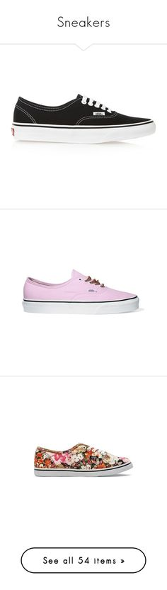 """""""Sneakers"""" by giovanna1995 ❤ liked on Polyvore featuring Color, print, sneakers, ankle, coloured, shoes, vans, sapatilhas, lace up shoes and pink sneakers"""