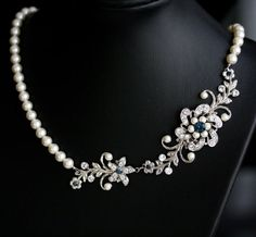 Bridal Necklace Pearl Blue Wedding jewelry Montana by LuluSplendor, $89.00
