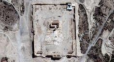 Eine Satellitenaufnahme vom 27. August: Im Zentrum der Tempelanlage in Palmyra...