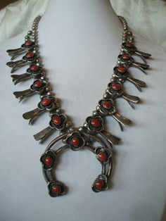 Old NAVAJO Sterling Silver & Red Mediterranean CORAL Squash Blossom NECKLACE.  TurquoiseKachina, $959.00