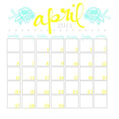 Printable April Calendar from Blissful Roots
