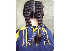 softball hair.. french braids & team ribbons