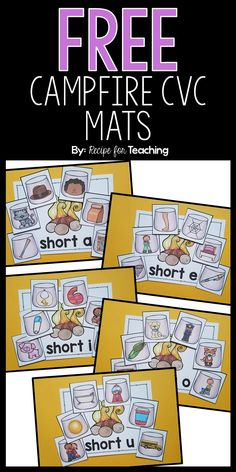 Students sort the marshmallow picture cards on the correct short vowel mat. Phonics Reading, Teaching Phonics, Kindergarten Literacy, Teaching Reading, Preschool, Short Vowel Activities, Phonics Activities, Classroom Activities, Short Vowel Games