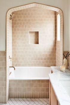 Lauren Bradshaw Design: Historic Tudor Bathroom | Fireclay Tile 4x4, Brick Show, Fireclay Tile, Thin Brick, Mid Century Modern Kitchen, Influencer, Upstairs Bathrooms, Master Bathroom, Tudor