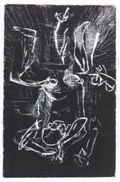 """Georg Baselitz, """"Sitting Man, Arms over his Head"""", 1977; Linocut in brownish-red ink on paper"""