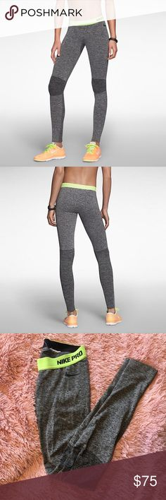 Nike pro hyperwarm tights Women's dark grey Xs Nike pro hyperwarm seamless compression tights. Ribbed section from the knee down. Like new. Super stretchy and comfy, these leggings look and feel awesome! Retail for $120. Nike Pants Leggings