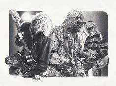 Kurt Cobain Original Sketch Prints - Poster Size - Black & White - Features Kurt Cobain Live Concert. Print of Highly-Detailed, Handmade Drawing By Artist Mike Duran   http://citymoonart.com/kurt-cobain-original-sketch-prints-poster-size-black-white-features-kurt-cobain-live-concert-print-of-highly-detailed-handmade-drawing-by-artist-mike-duran/