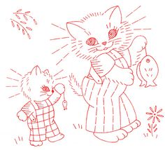 Vintage Embroidery - Kitty Family DOW - Kitten's big catch
