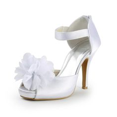 Satin Upper Peep Toe Stiletto Heel Wedding Bridal Shoes(More Colors Available)