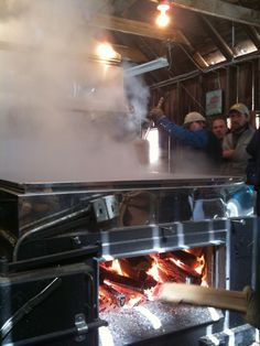 """Inside a steamy sugar house, where the sap slowly boils down to """"liquid gold"""" maple syrup.  http://planithealthier.wordpress.com/2011/03/25/the-sweetest-season/"""