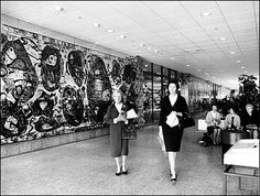 Mural by Tom Sanders at Southland, Melbourne, 1968. Destroyed in later renovations.