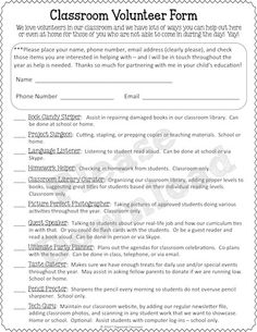 Including ALL Parents in the Classroom - The Organized Classroom Blog…great freebie classroom volunteer form here!