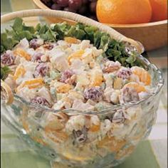 Creamy chicken salad with almonds, grapes and mandarin oranges.