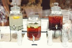 Drink Dispensers Bar Station Mint Gold Peach Summer Marquee Wedding http://elizaclaire.com