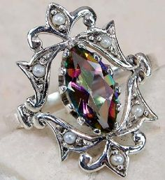 RAINBOW TOPAZ , SEED PEARL & 925 SOLID STERLING SILVER  ring