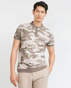 Image 2 of STRUCTURED CAMOUFLAGE POLO SHIRT from Zara