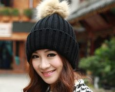 Knitted Winter Hat With Fur Pompom