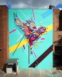 Rainbow Animals Roar Across Geometric Street Art Murals - Olten Bird Street Art, Street Wall Art, Murals Street Art, Street Art Graffiti, Graffiti Images, Graffiti Murals, Mural Wall Art, Street Artists, Public Art