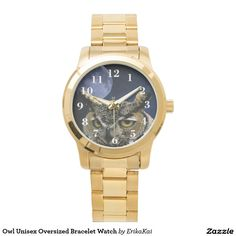 Owl Unisex Oversized Bracelet Watch. Color: black, gold, silver or two-ton