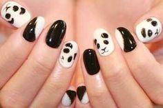 Pandas!!! Nail Art Hacks, Nails, Manicures, Nail Designs, Hair Beauty, Nail Ideas, Beautiful, Makeup, Fun