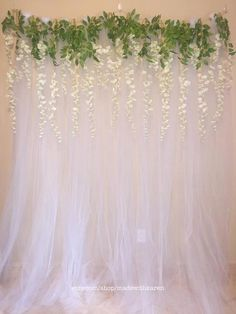 Tulle Backdrop Curtain Photo Booth with Hanging Wisteria Flowers – Engagement Decoration Tulle Backdrop, Bridal Shower Backdrop, Wedding Reception Backdrop, Wedding Stage, Bridal Shower Decorations, Diy Photo Booth Backdrop, Wedding Backdrops, Wedding Venues, Engagement Decorations