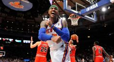 Carmello Anthony Carries Knicks to a huge win over the Bulls. NY Times photo