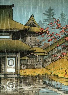 Japanese Ukiyo-e: Yama Temple, Sendai. Hasui Kawase. 1933