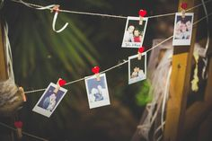 Visitor book, heart pegs, Polaroid,  wedding