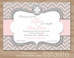 Chevron Ornate Cross - Baptism Invitation Pink and Gray Grey - Christening, Dedication, Blessing PRINTABLE Invitation Design