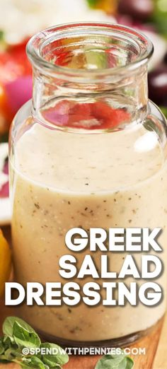 This Greek Salad Dressing can be used for salads, but it also makes a delicious marinade or glaze! The whole family will love this recipe! salad Greek Salad Dressing is an easy homemade vinaigrette, for added flavor in salads, pasta or veggies! Best Salad Dressing, Salad Dressing Recipes, Mediterranean Salad Dressing, Greek Salad Dressings, Healthy Salad Dressings, Homemade Salad Dressings, Easy Dressing Recipe, Greek Vinaigrette, Vinaigrette