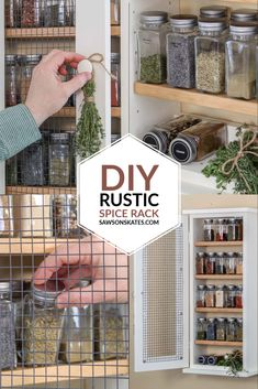 Make a DIY wall-mounted spice rack with this easy-to-follow plan. This wooden spice cabinet is made with a few pieces of wood and has a rustic wire mesh door.