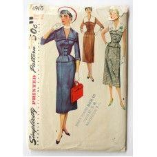 Vintage 1950s Nautical Sailor Suit Dress Bust 30 Wiggle Skirt Simplicity 4965