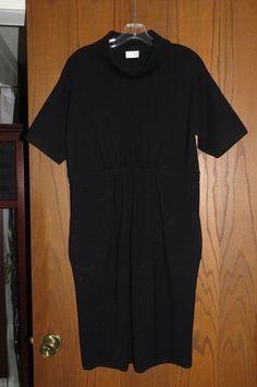TSE $1,295 Black Stretch Wool Knit Cowl Neck Short Sleeve Gathered Waist Dress L #TSE #Sheath #WeartoWork